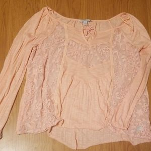 American Eagle Pink Lace Shirt
